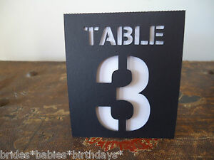 Image is loading Kraft-Black-White-Table-Numbers-1-to-10- & Kraft Black White Table Numbers 1 to 10 Tent Style Wedding ...