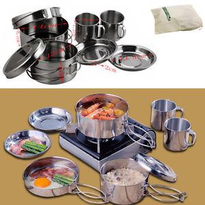 8 pcs marmit casseroles ustensiles cuisine en acier inoxydable pot pan randonn e ebay - Pot a ustensiles cuisine ...