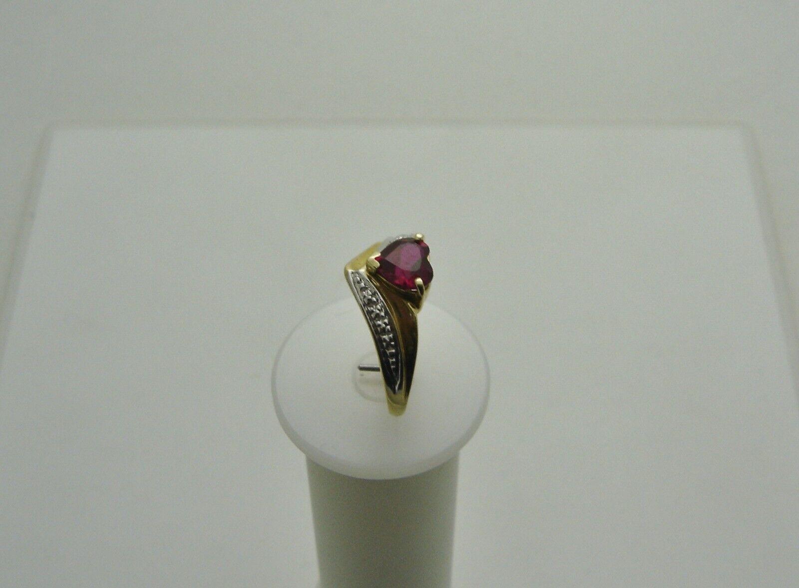 Cuore o Mine  14k oro Giallo Giallo Giallo Coltivata Rubino Cuore Anello Diamante Taglia 6 1 2 01c194