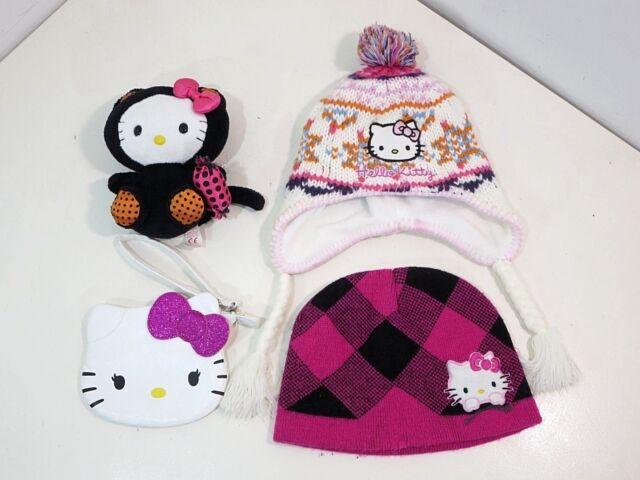 9bc63f05db0 Hello Kitty Beanie Fleece Winter Hat   Halloween Plush Kitty Purse Lot of 4