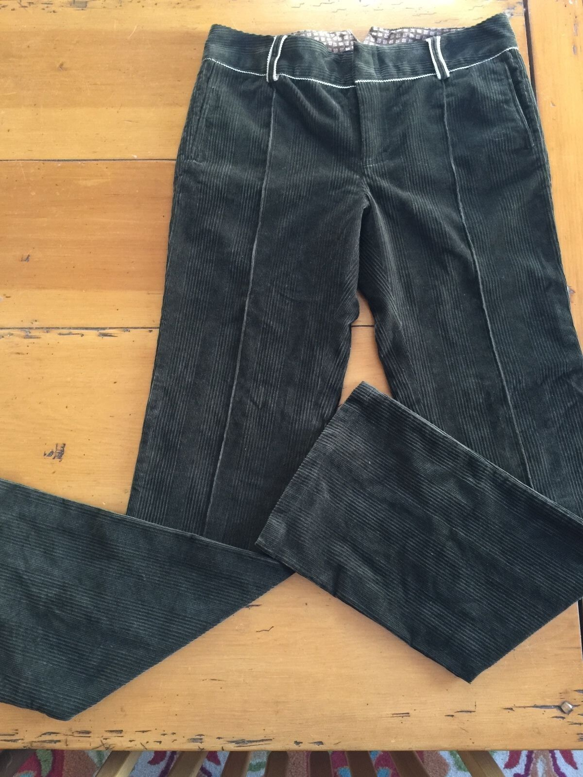 ROBERT GRAHAM item WF05301 dark brown stretch corduroy pants  NWT 10