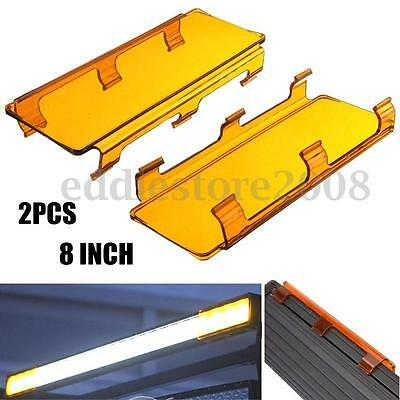 2x 8''Inch Snap on Amber Lens Covers For LED Work Light Bar Jeep SUV Offroad 4x4