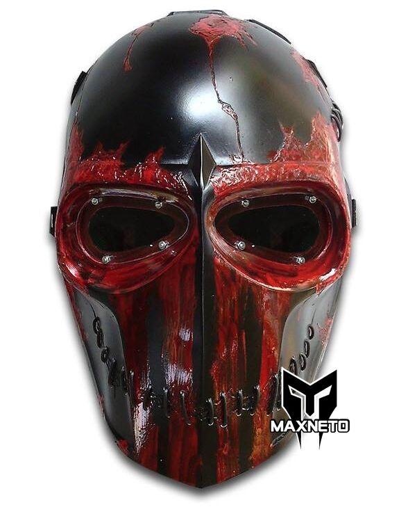 MásCochea maxneto ejército de dos Paintball Airsoft BB pistola Halloween Casco Negro Rampage
