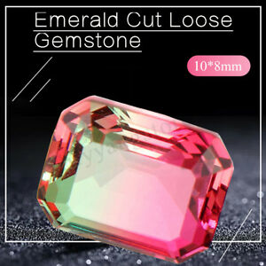 10x8mm-BI-COLOR-NON-NATURAL-WATERMELON-TOURMALINE-Emerald-Cut-LOOSE-GEMSTONE