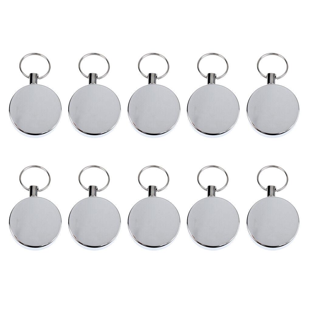 Paquet De 10 Porte-clés Porte-clés Rétractable En Argent