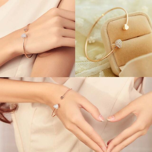 Terrible Shape With Double Peach Heart Love Gold-Plated Crystal Opening Bracelet