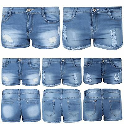 Schlussverkauf Womens Hot Pants Ladies Denim Raw Edges Ripped Destroyed Distressed Faded Shorts