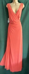 New-ALBERTA-FERRETTI-UK-14-Orange-SILK-JERSEY-Evening-Maxi-Dress-Long-Gown