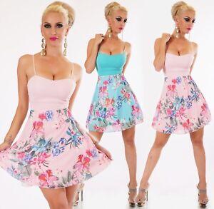 ITALY Damen Mini Kleid Chiffon Blumen geblümt Träger Party ...