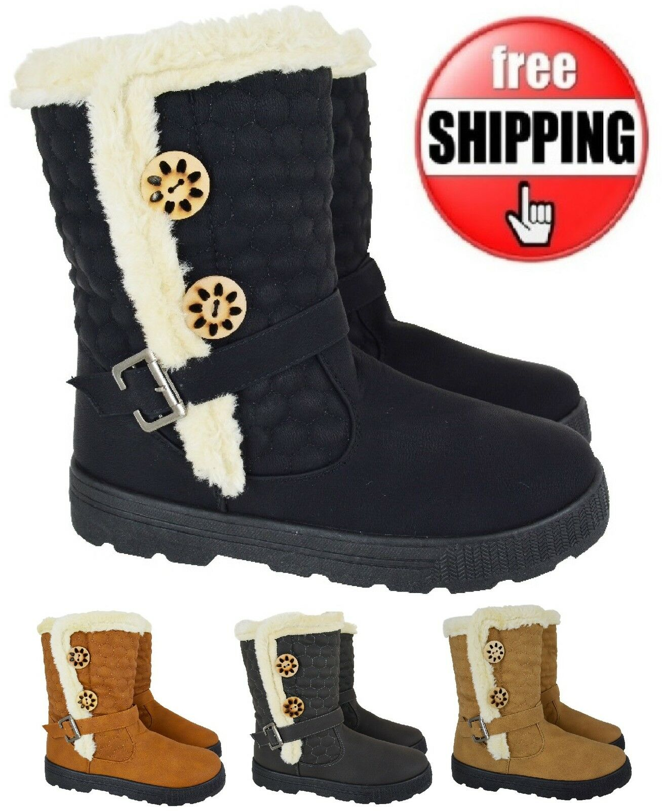 LADIES WOMENS NEW ANKLE WARM WINTER FAUX FUR LINNED FASHION GRIP SOLE BOOTS SZ