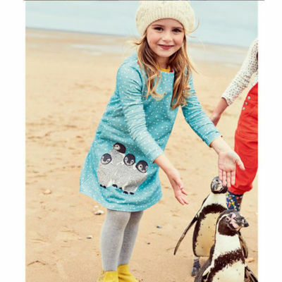 Girls Clothes Long Sleeves Baby Kids Dress Animal Appliques Cottton Girl Dresses