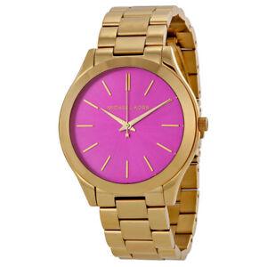 ae63cfaab8fc0 Michael Kors MK3264 Women s Slim Runway Gold-Tone Stainless Steel Bracelet  Watch