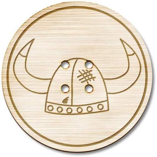 BT018645 Casco De Vikingo/' /' Botones Madera