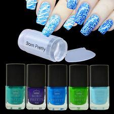 6pcs/set Blue Series Nail Stamping Polish Kit & Clear Stamper Scraper Tools DIY
