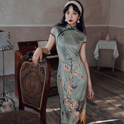 Pfau Blüte Grün Samt Chinesisch Kurzes Kleid Cheongsam Qipao lcdress88 913