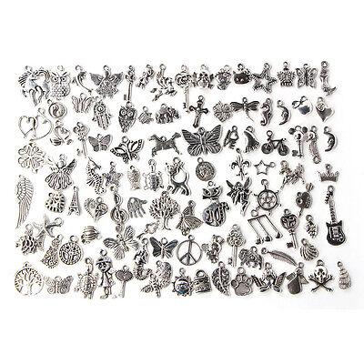 Wholesale 100pcs Bulk Lots Tibetan Silver Mix Charm Pendants Jewelry DIY TS