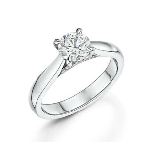 Real-Solid-18-K-White-Gold-Rings-0-72-Ct-Diamond-Solitaire-Women-Ring-Size-5-6-7
