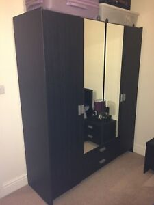 size 40 dc41c c8e02 Details about black wood Capella matching bedroom furniture. Mirrored  wardrobe, chest drawers