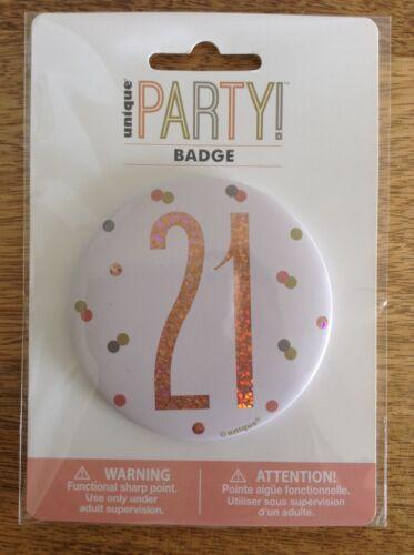 "Rose Gold Glitz 21st Birthday 3/"" Badge"