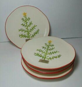 Set-of-4-Sundance-Dessert-Salad-Plates-Christmas-Tree-Hand-Painted-9-034-Portugal