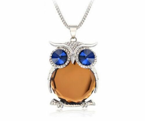 Rhinestone Owl Pendant Necklace Crystal Necklaces Pendants Long Chain Fashion
