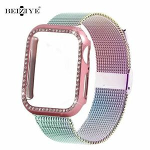 Diamond-case-Milanese-Loop-strap-For-Apple-iWatch-38-42-40-44mm-Bracelet-Band