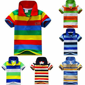 Kids-Boys-Girls-Casual-Cotton-Striped-Short-Sleeves-Polo-T-Shirt-Top-2-4-6-YRS