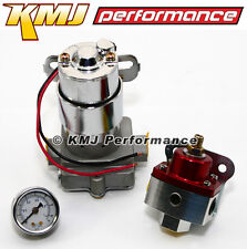 High Flow Electric Fuel Pump 130GPH Universal w/ Red Regulator & Pressure Gauge