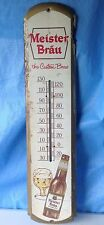 Meister Brau Tin Sign beer Thermometer Ad The Custom Brew long wall Advertising