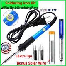 Soldering Iron Electric Temperature 60w Welding Solder Wire W Desoldering Pump