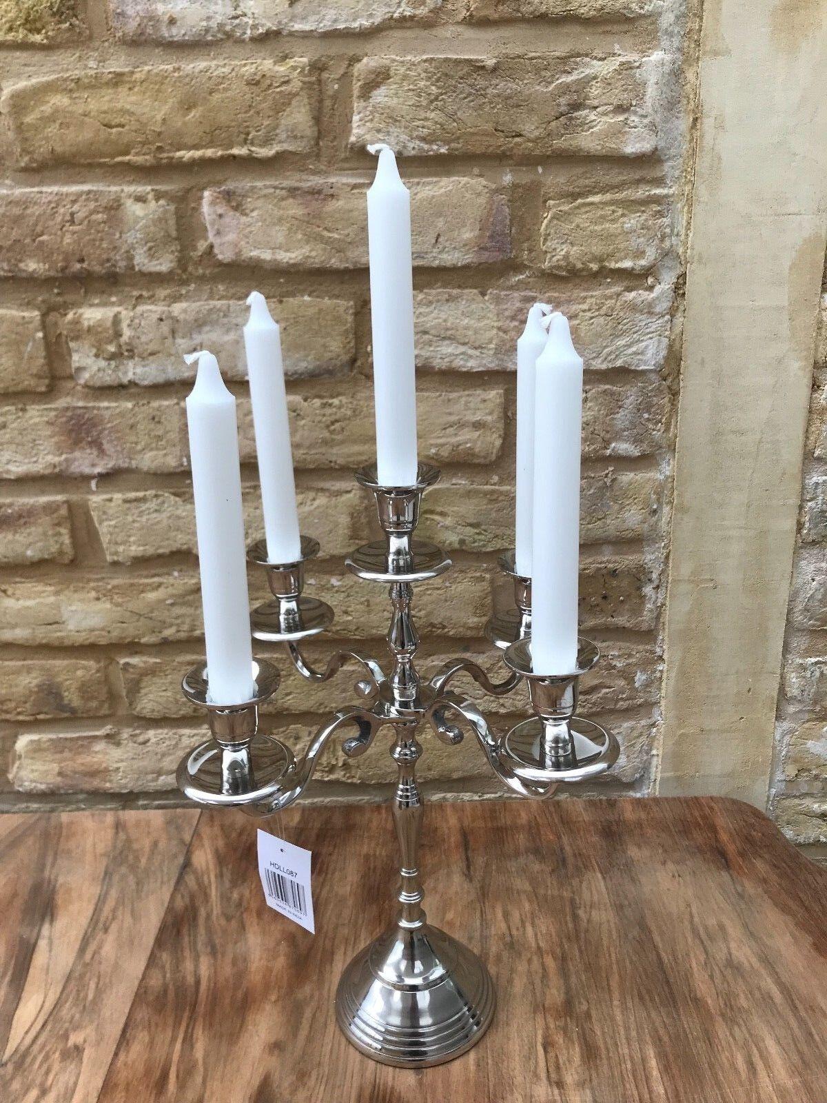 5 Bras Aluminium Candélabre candle stick Pièce Support Pièce stick Centrale Table Mariage 21085b
