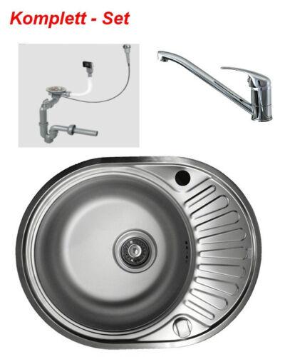 Edelstahlspüle GLATT Wasserhahn Küchenspüle Einbauspüle Spüle Spülbecken oval