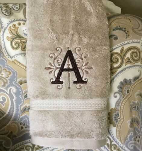 Letter in Scroll * Gray White or Tan Custom Monogram Embroidered Bath Towel