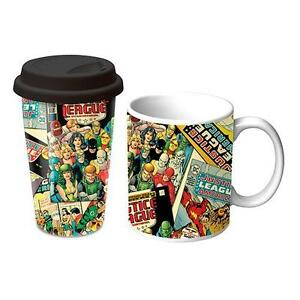 dc comics justice league coffee mug travel mug gift set 2 pack ebay