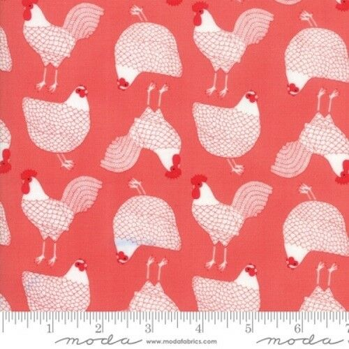 Moda Farm Fresh by Gingiber 48262 17 Strawberry Chickens /& RoostersCotton Fabric