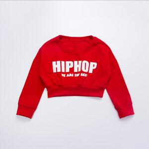3ada80a9ef6e Girls Red Ballroom Jazz Hip Hop Dance Costumes Crop Tops Shirts ...