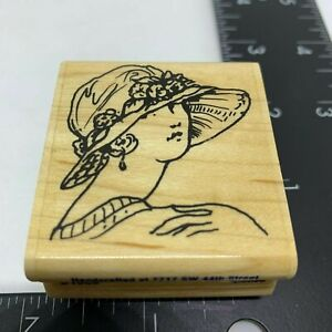 Stampabilities-Rubber-Stamp-20-039-s-Lady-Woman-Hat-Fashion-Wood-Mount-2002