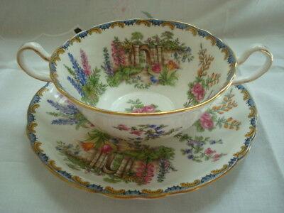 AYNSLEY England Bone China GARDEN GATE soup Cup /& Saucer