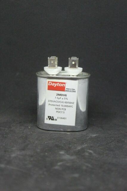 H DAYTON 2MDV6 Motor Run Capacitor,7.5 MFD,3-3//8 In