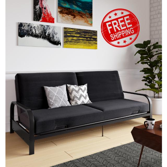 Futon Sofa Bed Black Full Size Mattress