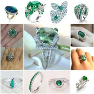 Women-039-s-925-Silver-Natural-Gems-Emerald-Ring-Mother-Bridal-Wedding-Jewelry-6-10