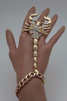 Women Gold Metal Hand Chain Fashion Bracelet Scorpion Rings Slave Jewelry Desert