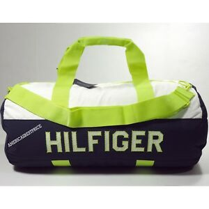 63e0883114 Details about TOMMY HILFIGER NEW LARGE DUFFLE BAG GYM BAG NWT BLUE WHITE  NEON GREEN VERY NICE