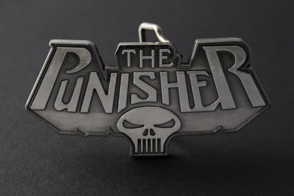 100% De Qualité The Punisher Logo Classique Crâne Massif Gris Boucle De Ceinture Divers Styles