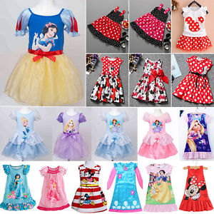 1ca788a64e05 Toddlers Girls Princess Dress Disney Character Party Skater Dresses ...