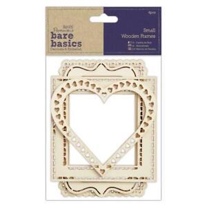 4 x Papermania Bare Basics cornici in legno di piccole dimensioni diverse Scrapbooking Craft