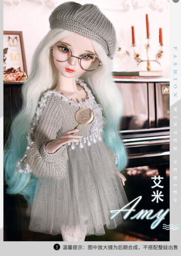 "New 24/"" 1//3 Handmade PVC BJD MSD Lifelike Dolls Joint Dolls Women Girl Gift Amy"
