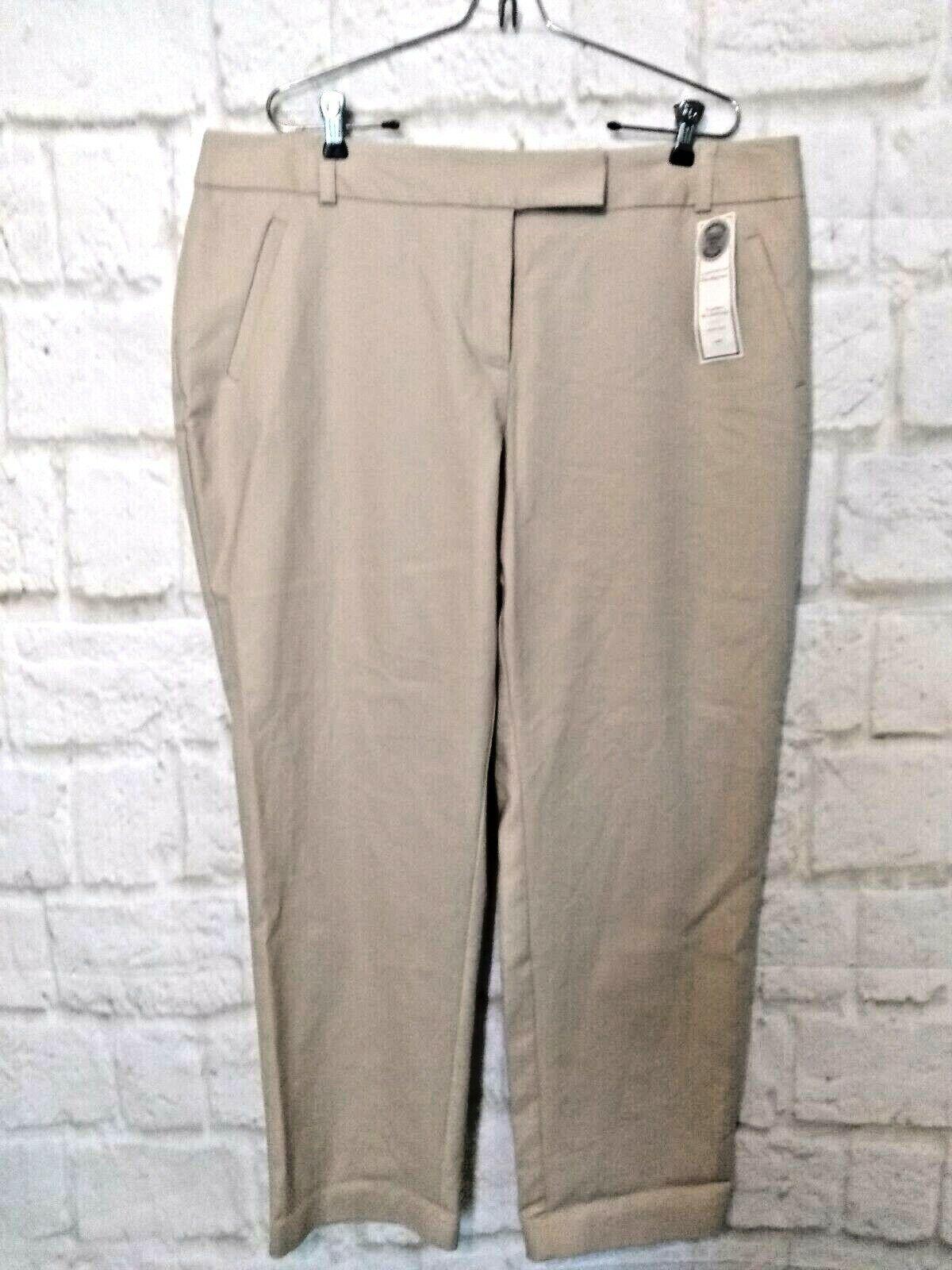 New Charter Club damen pant khaki casual pocket slim leg tummy control Größe 18W