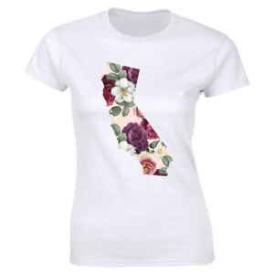 California-Floral-Print-Crew-Neck-T-Shirt-for-Women-Cute-Tee