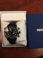 New Seiko SSC371 Prospex Solar Chronograph Black Ion Stainless Men's Watch